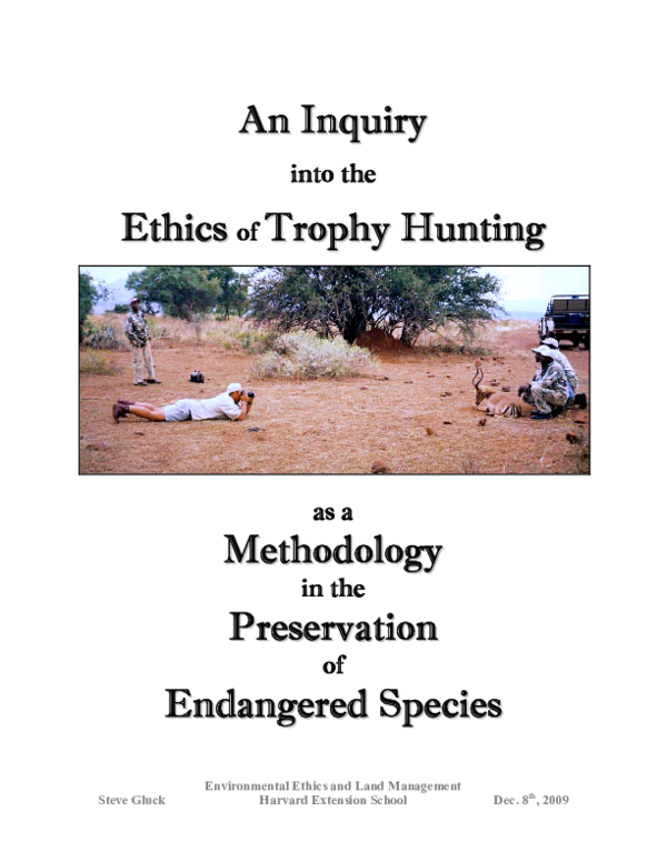 PDF) An Inquiry into the Ethics of Trophy Hunting as a