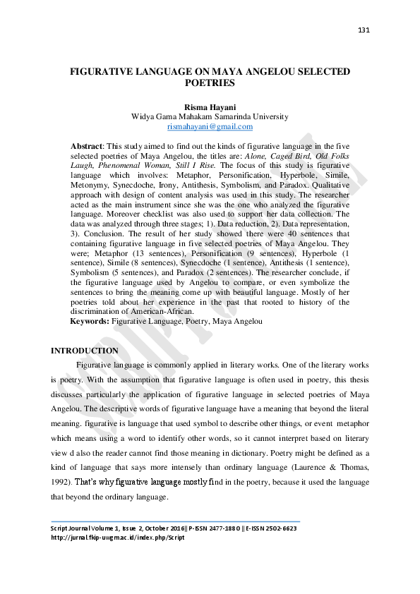 PDF) FIGURATIVE LANGUAGE ON MAYA ANGELOU SELECTED POETRIES
