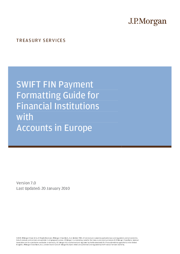 PDF) SWIFT FIN Payment Formatting Guide for Financial