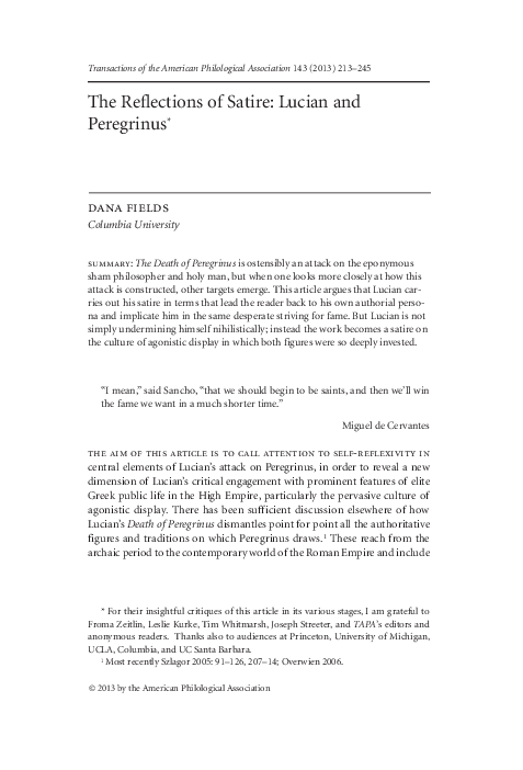 Pdf The Reflections Of Satire Lucian And Peregrinus Dana Fields Academia Edu