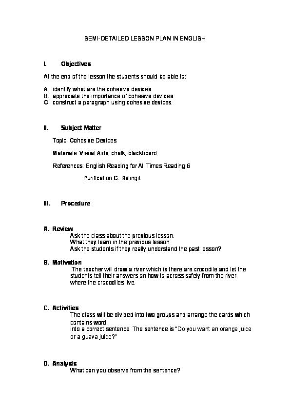 DOC) SEMI-DETAILED LESSON PLAN IN ENGLISH | kei geli