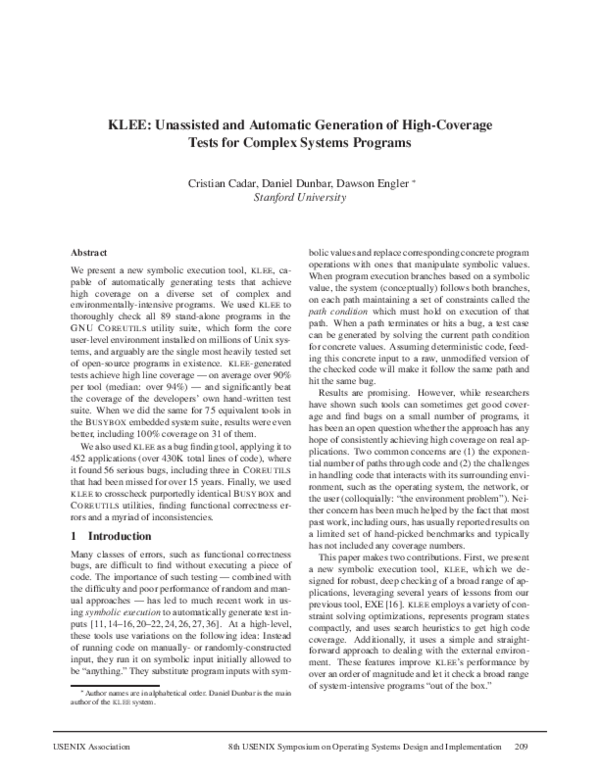 Pdf Klee Unassisted And Automatic Generation Of High Coverage Tests For Complex Systems Programs Oasis Education Academia Edu