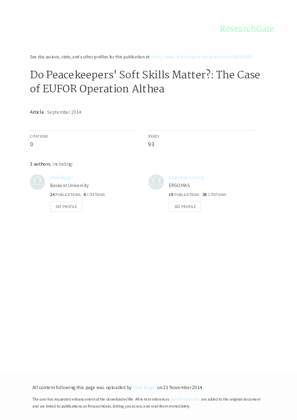 PDF) Do Peacekeepers' Soft Skills Matter?: The Case of EUFOR