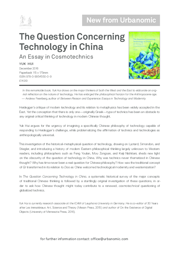 the question concerning technology in china an essay in  pdf