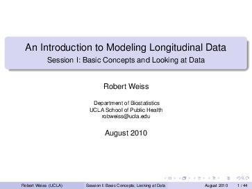 PDF) An Introduction to Modeling Longitudinal Data Session I