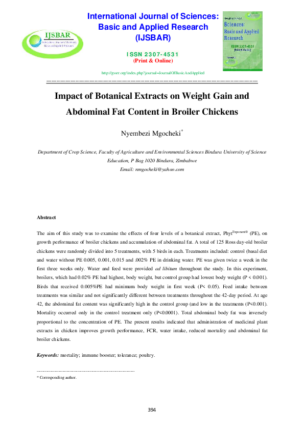 PDF) Impact of Botanical Ectracts on weight gain and