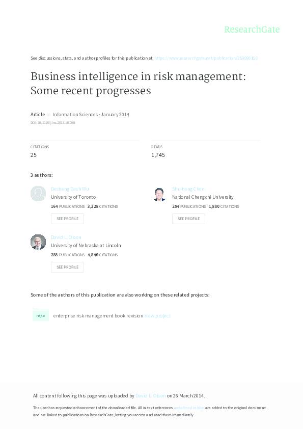 PDF) Business intelligence in risk management: Some recent