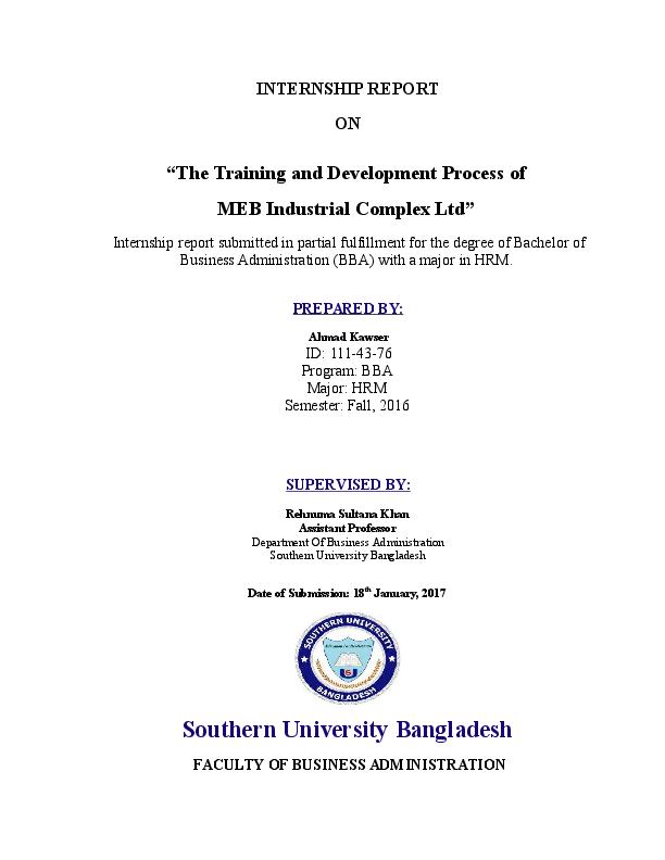 DOC) Internship Report on The Training and Development