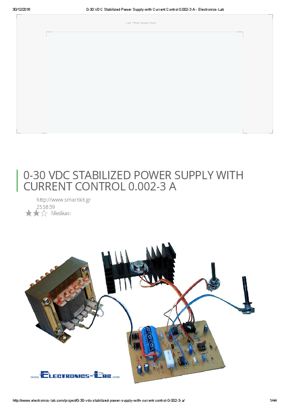 PDF) -30 VDC Stabilized Power Supply with Current Control