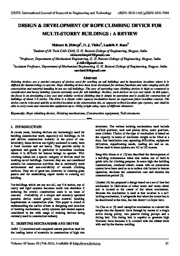 PDF) DESIGN & DEVELOPMENT OF ROPE CLIMBING DEVICE FOR MULTI
