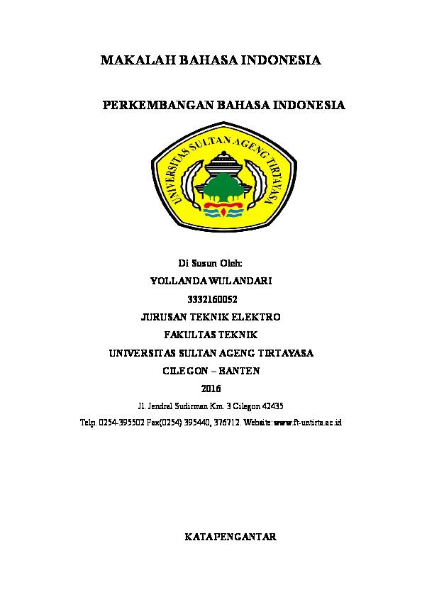 Doc Makalah Bahasa Indonesia Perkembangan Bahasa Indonesia Yollanda Wulandari Academia Edu