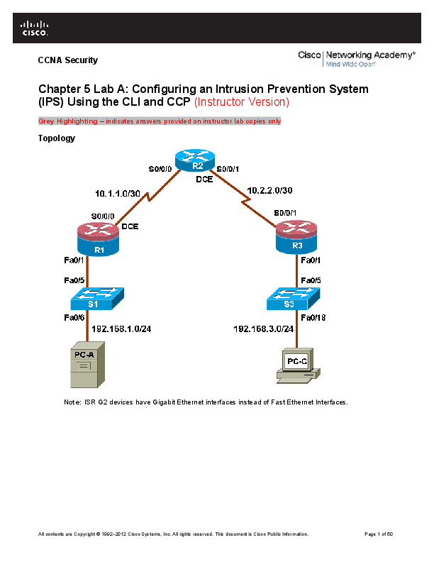 DOC) Chapter 5 Lab A: Configuring an Intrusion Prevention