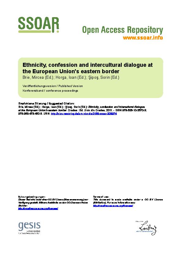 Pdf Ethnicity Confession And Intercultural Dialogue At The European Union S Eastern Border Ethnicity Confession And Intercultural Dialogue Pdf Rodica Rusu Academia Edu