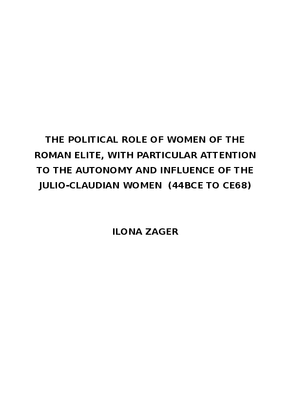 PDF) The political role of women of the Roman elite, with ...