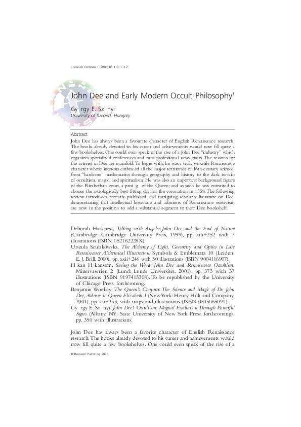 PDF) John Dee and Early Modern Occult Philosophy (2004