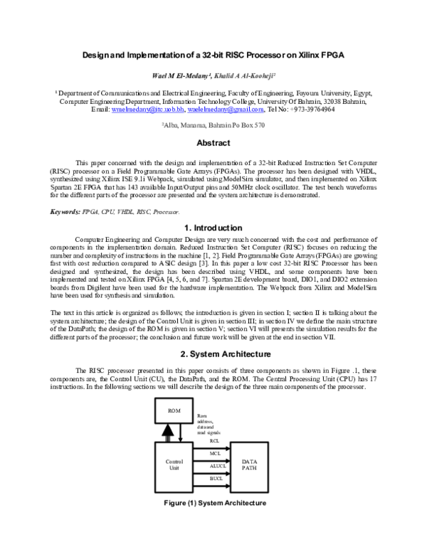 PDF) Design and Implementation of a 32bit RISC Processor on