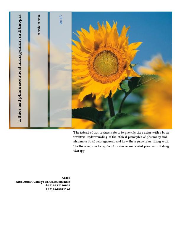 PDF) Ethics and pharmaceutical management in ethiopia | mende mensa