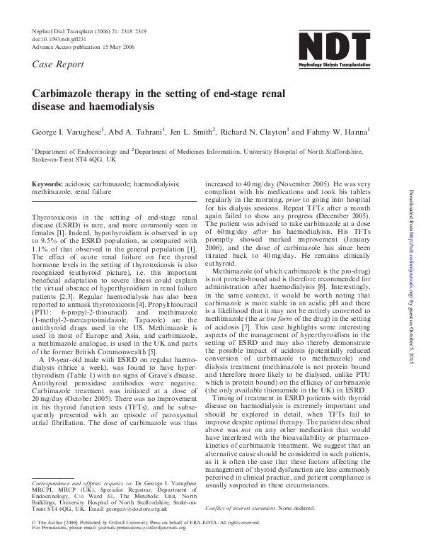 Carbimazole Therapy In The Setting Of End Stage Renal Disease And