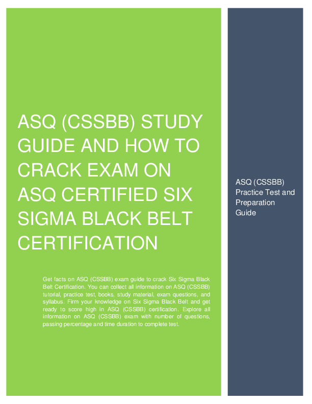How To Prepare For Asq Cssbb Certified Six Sigma Black Belt