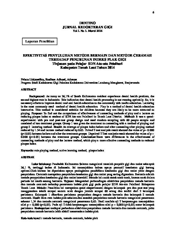 PDF) EFEKTIVITAS PENYULUHAN METODE BERMAIN DAN METODE CERAMAH ... dec6523d67
