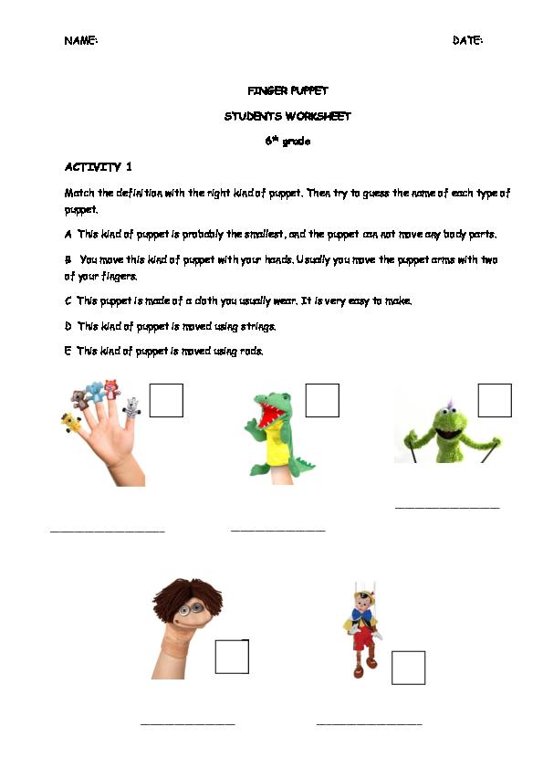 PDF) Students worksheets finger puppet | Biel Isern