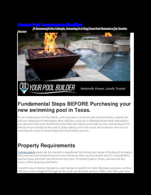 PDF) Swimming Pool Construction Checklist (Basic)   Your
