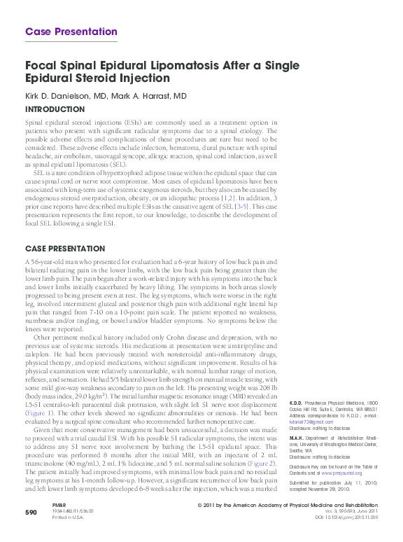PDF) Focal Spinal Epidural Lipomatosis After a Single Epidural Steroid  Injection | Mark Harrast - Academia.edu