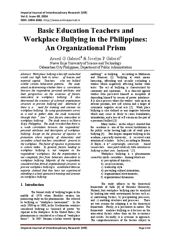 research paper about bullying in the philippines