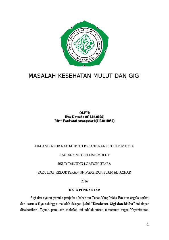 Doc Makalah Penyuluhan Gigi Rita Kamelia Academia Edu
