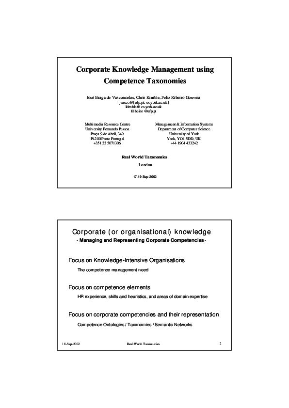 PDF) Corporate knowledge management using competence