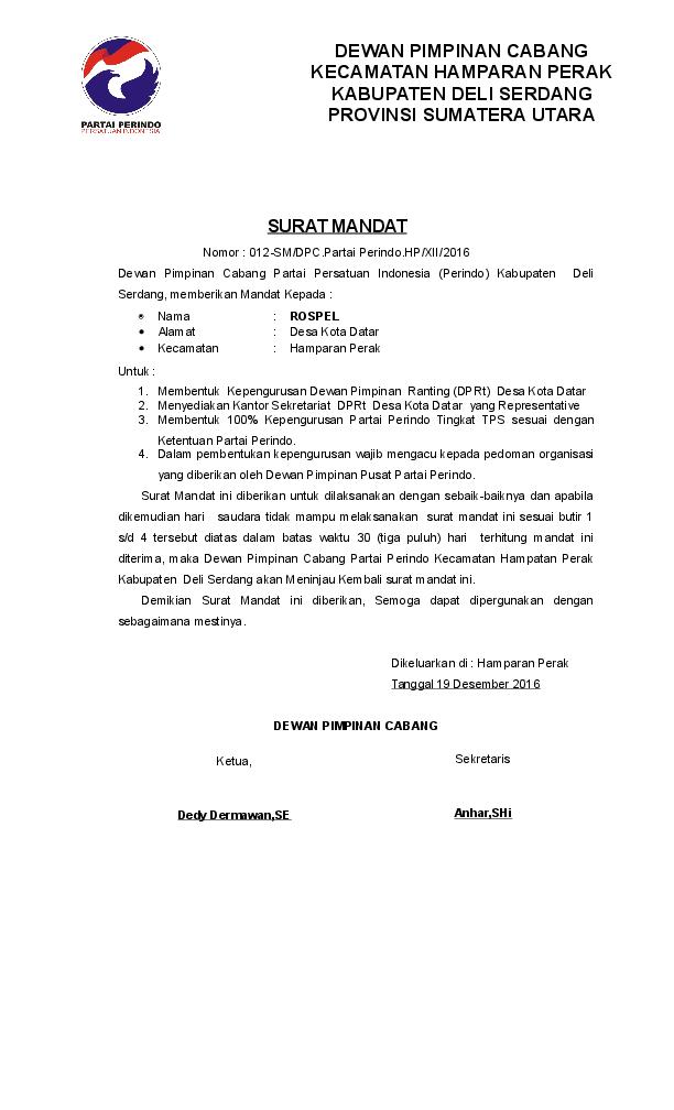 Doc Surat Mandat Muliani Hapsah Academiaedu