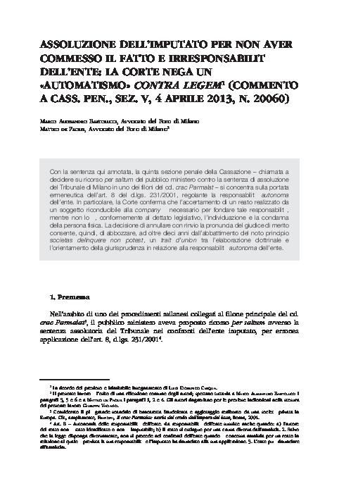026d9ae06d PDF) Assoluzione dell'imputato per non aver commesso il fatto e ...