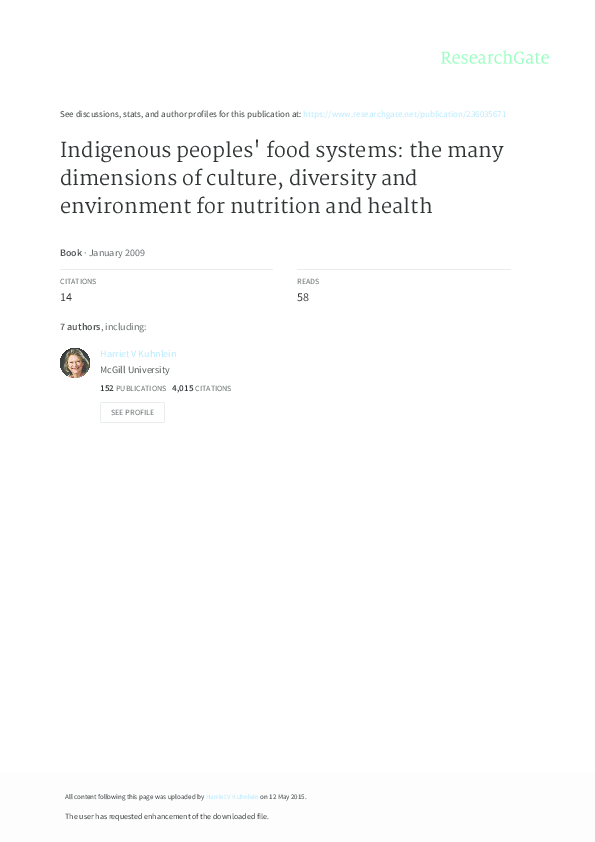 PDF) Indigenous peoples' food systems: the many dimensions