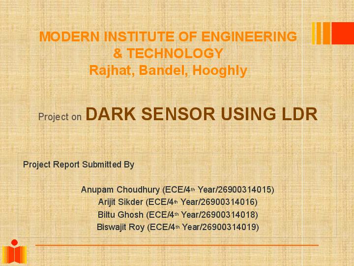 PPT) Dark Sensor Using LDR | Arijit Sikder - Academia edu