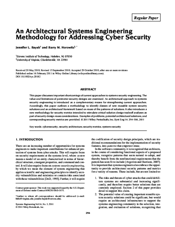 PDF) An architectural systems engineering methodology for addressing