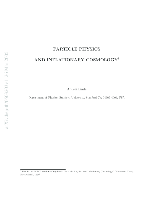 PDF) Particle physics and inflationary cosmology | obaid