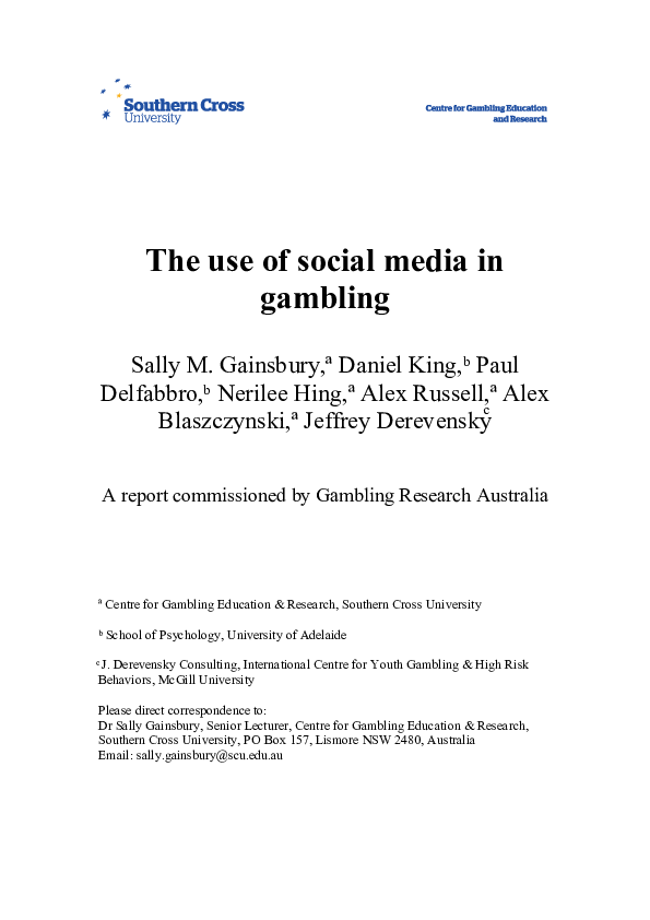 PDF) The use of social media in gambling | Sally Gainsbury