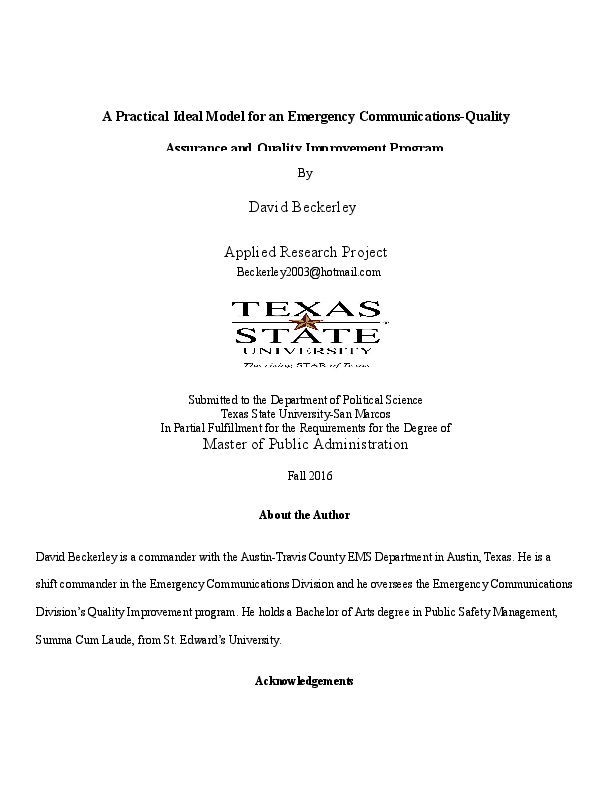 DOC) A Practical Ideal Model for an Emergency Communications