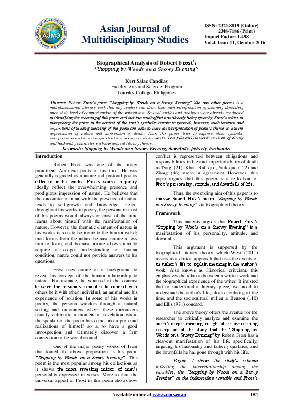 Thesis Examples For Argumentative Essays Pdf My Hobby Essay In English also Example Of An Essay With A Thesis Statement Biographical Analysis Of Robert Frosts  Stopping By Woods On A  Essay Topics For Research Paper