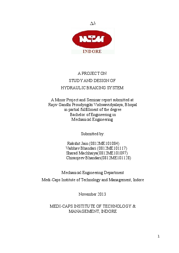 DOC) A PROJECT ON STUDY AND DESIGN OF HYDRAULIC BRAKING SYSTEM A