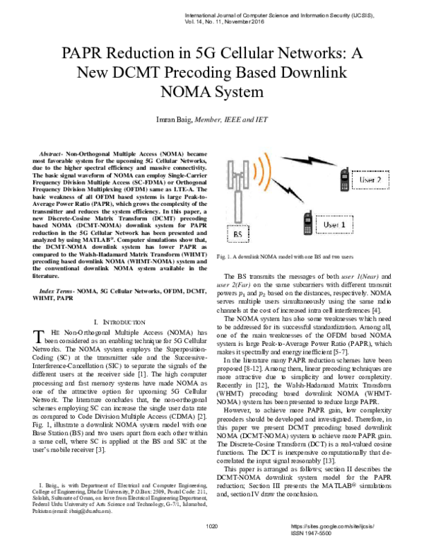 PDF) PAPR Reduction in 5G Cellular Networks: A New DCMT