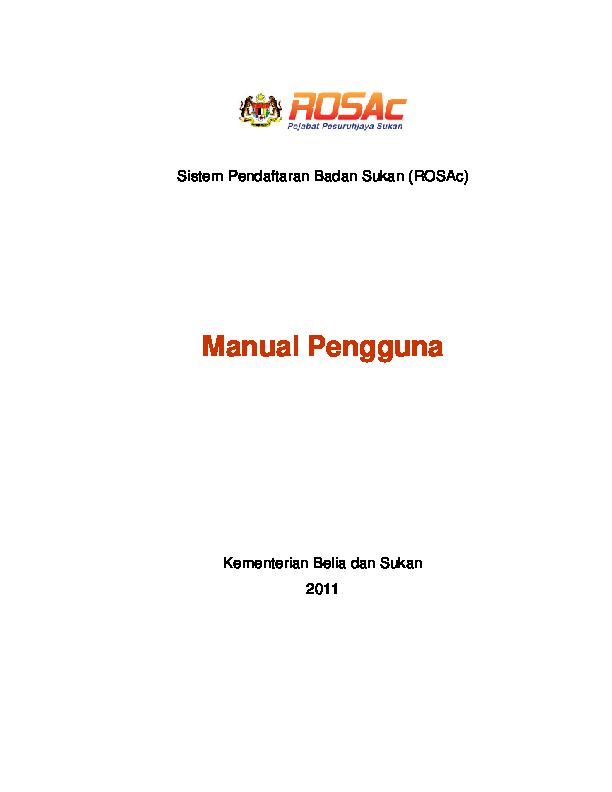 Pdf Sistem Pendaftaran Badan Sukan Rosac Manual Pengguna Azmey Azaini Academia Edu