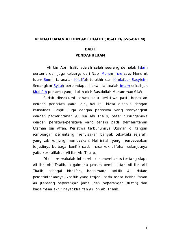 DOC) KEKHALIFAHAN ALI IBN ABI THALIB (36-41 H/ 656-661 M