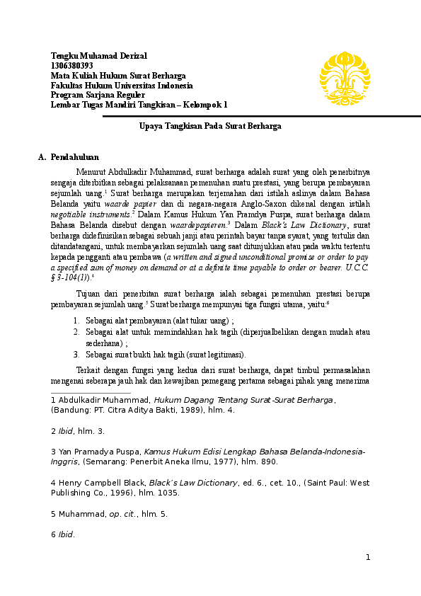 Doc Tangkisan Surat Berharga Tengku M Derizal Academiaedu