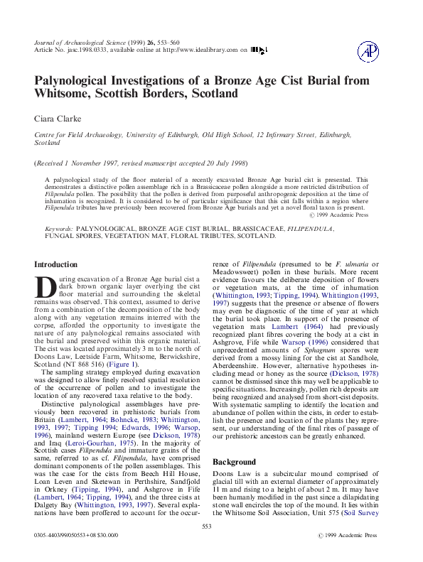 PDF) Palynological Investigations of a Bronze Age Cist