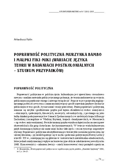 Pdf Poprawność Polityczna Murzynka Bambo I Małpki Fiki Miki