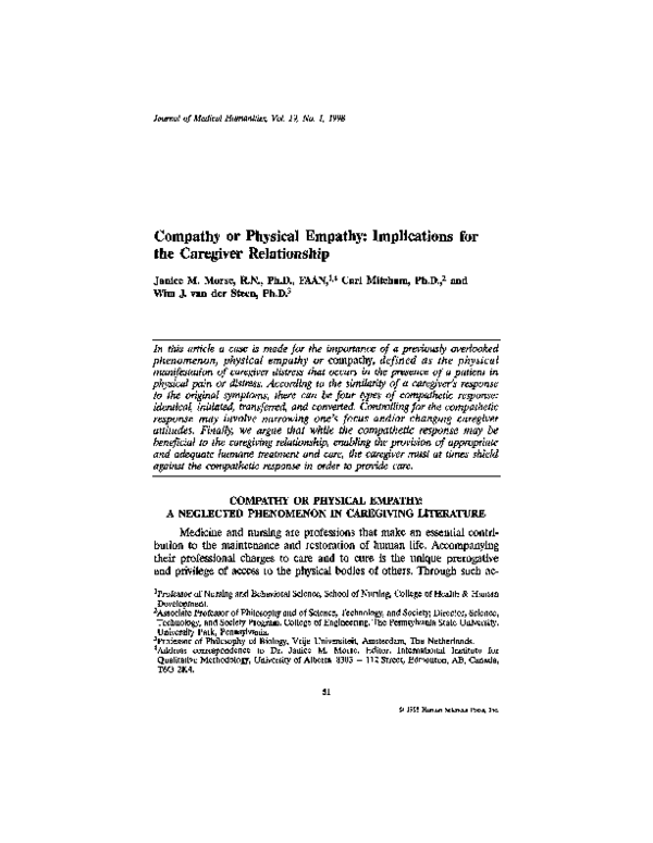 PDF) Compathy or physical empathy: Implications for the caregiver