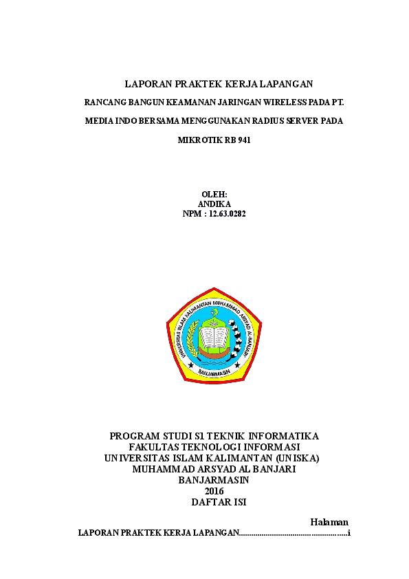 Doc Laporan Praktek Kerja Lapangan Bugis Andhika Academia Edu