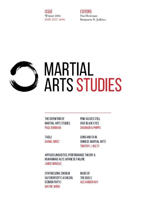 Martial Arts Studies Issue 3 Paul Bowman Alex Channon Catherine