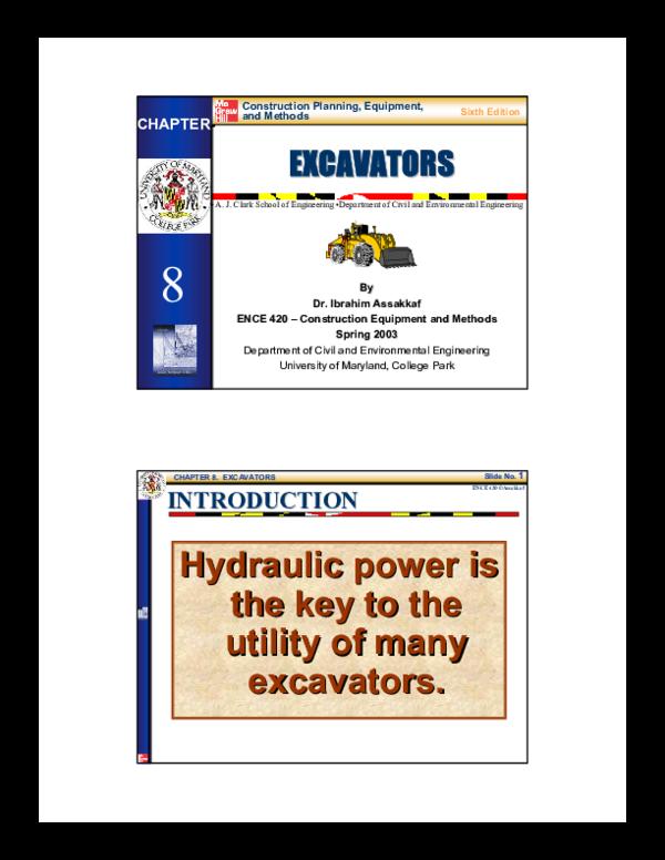 PDF) Construction Planning, Equipment, and Methods EXCAVATORS